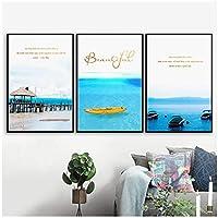 LIUYUEKAI 北欧埠頭ボートシービーチ風景引用壁アートキャンバス絵画ポスターとプリント壁の写真リビングルームの家の装飾-40x60cmx3フレームなし
