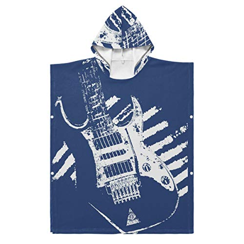 LUPINZ Kinder Bademantel Musik Gitarre Jungen Mädchen Solid Fleece Schlafmantel Bademantel, Polyester, 1, 27.55x27.55in
