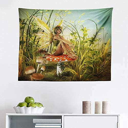 Tapiz de fantasía, pequeño elfo con alas sobre mosca seta agrícola en el arte del bosque encantado, decoración de pared para dormitorio, sala de estar, dormitorio de 152 cm x 152 cm