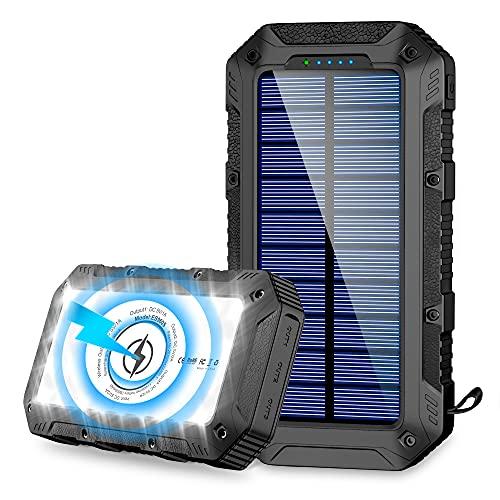 Powerbank Solare 26800mAh, Caricabatterie Portatile Wireless Ricarica Batteria Esterna Solare con 4 Porte di Uscita e Torcia a 28 LED, 2 Modalità di Ricarica(Solare+USB) per Campeggio Android iOS