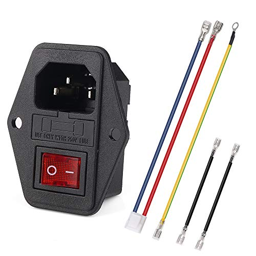 URBEST Inlet Module Plug 5A Fuse Switch Male Power Socket w Switch Plug 10A 250V 3 Pin IEC320 C14 Connected Terminal Crimps and Wires