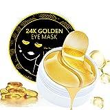 24K Gold Eye Mask, 60PCS Under Eye Collagen Patches, Eye Gel Pads Puffy Eyes and Dark Circles Treatments, Under Eye Mask for Lighten Wrinkles Anti-Aging Moisturizing, Fine Lines Eye Bags Women Men