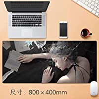 拡張大型プロフェッショナルゲーミングマウスパッドクリエイティブ厚みのゲームノンスリップマット表ホームオフィスラバーベース耐水性デスクマットのノートパソコンのキーボードパッドステッチエッジアニメギフト90 * 40センチメートル (サイズ : Thickness: 4mm)