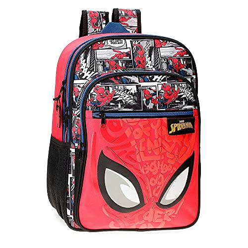Marvel Spiderman Comic Mochila Escolar Doble Compartimento Rojo 30x40x13 cms Poliéster 15,6L
