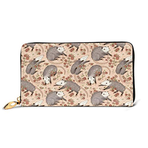 Befuddled Possums Wallets for Men Women Long Leather Checkbook Card Holder Purse Zipper Buckle Elegant Clutch Ladies Coin Purse