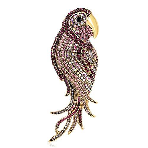Ltervoercaern Broches de Loro Coloridos con Diamantes de imitación con Insignia de Animal para Ropa, alfileres de Mochila para Ropa, Cuello, Bolsa, Chaqueta, Accesorio, Manualidades DIY (B)