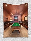ABAKUHAUS Moderno Tapiz de Pared, Mesa De Billar Billar, para el Dormitorio Apto Lavadora y Secadora Estampado Digital, 150 x 200 cm, Canela Marrón Verde