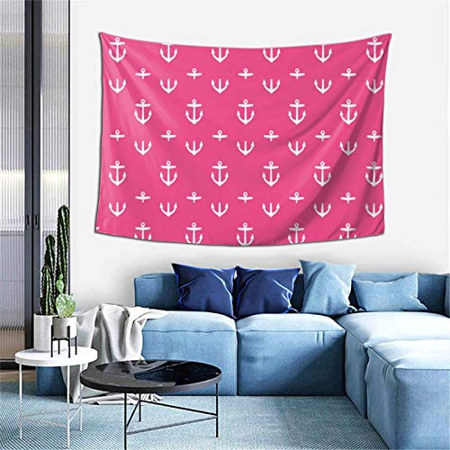 Hot Pink Anchors Tapestry Wall Art Hanging for Living Room Dorm Bedroom Party Home Decor 60 X 323in