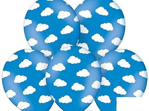 SiDeSo® 10 Luftballons mit Wolken Heliumgeeignet Party Geburtstag Jahrestag (blau mit weißen Wolken)