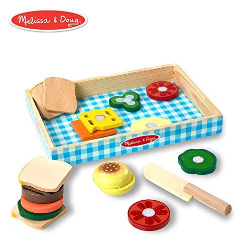 Melissa & Doug- Set per panini, Vassoio in Legno, Materiali di Alta qualità, 16 Pezzi, 96043