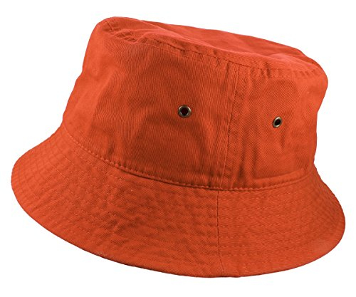 Gelante 100% Cotton Packable Fishing Hunting Summer Travel Bucket Cap Hat 1900-Orange-S/M