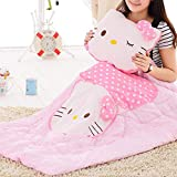 WEISHENG Pillow Cushion Quilt Plush Cartoon Hello Kitty Printing 14.2'' x 13.8''(Pillow) and 39.5'' x59.2''(Quilt) Super Soft Warm for Napping, Couch Chair, Baby Crib, Living Room, Car (Kitty-Pink)