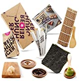 Reishunger Sushi Einsteiger Box inkl. Rezeptkarte - Komplett-Set mit original Japanischen Zutaten wie Sushi Reis, Bambusmatte, Sojasauce, Nori Algen, Wasabi, Ingwer, Essstäbchen - Perfekt auch als Geschenk