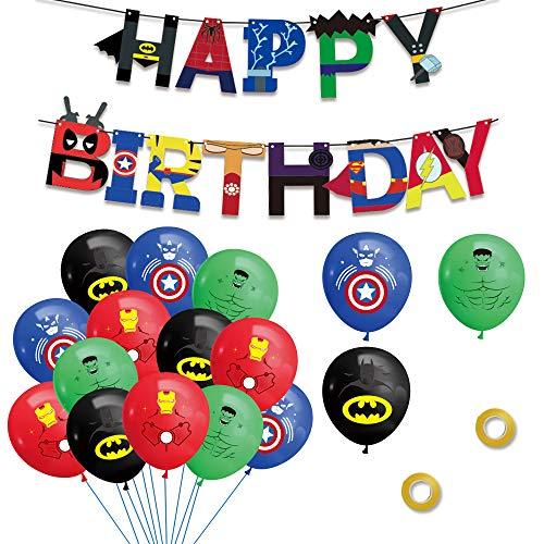 Decoracion Cumpleaños Superheroes Globos de Superheroes Superhéroe Feliz Cumpleaños del Pancarta