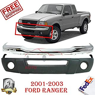 New Front Bumper Chrome Steel Kit For 2001-2003 Ford Ranger XLT Extended/Standard Cab Lower Valance Textured with Fog Light Holes & license plate OE Replacement Set Of 2 FO1002368 FO1095191