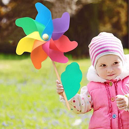TinaDeer 5 Stücke Windrad, Windräder DIY Windmühle Garten Rasen Dekoration Outdoor Regenbogen Pailletten Windspiel Windrad Holz Blume Für Balkon Terrasse Kinder Kindergeburtstag Party Decor (S)