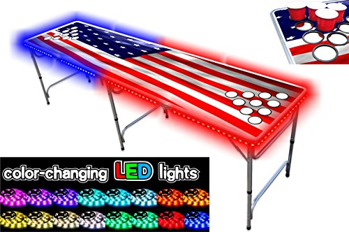 8-Foot Beer Pong Table w/Cup Holes & LED Lights – USA Edition