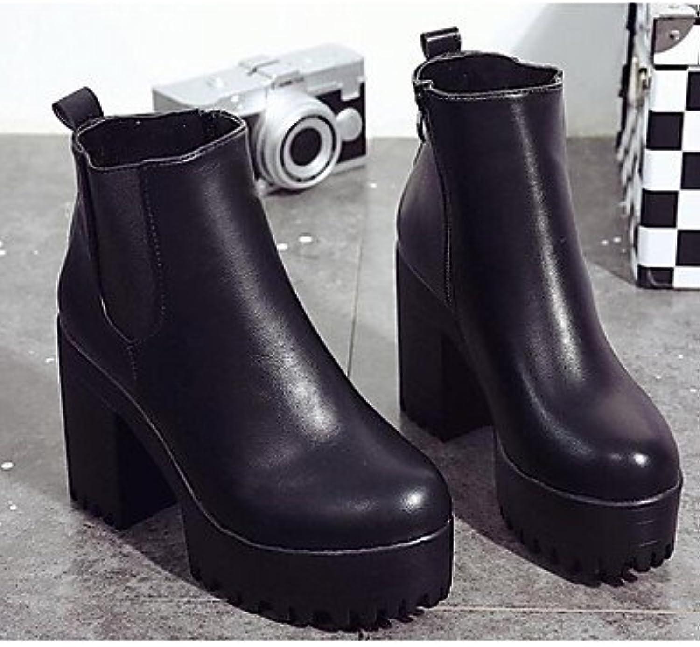 GLL&xuezi Damen Stiefel Komfort Modische Stiefel Echtes Leder PU Winter Normal Schwarz Burgund Unter 2,5 cm