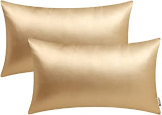 Best BRAWARM Pack of 2 Cozy Bolster Pillow Covers Cases for Couch Sofa Home Decoration Solid Dyed Soft Faux Leather Both Sides 12 X 20 Inches Gold Review