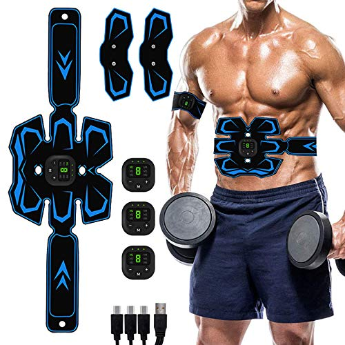 Abs Stimulator, Muscle Toner - Abs Stimulating Belt- Abdominal Toner- Training Device for Muscles- USB Rechargeable Wireless Portable Gym Device- Muscle Sculpting at Home- Fitness Equipment