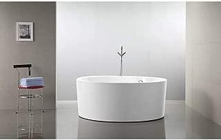 Vanity Art 59-Inch Freestanding Acrylic Bathtub   Modern Stand Alone Soaking Tub with Chrome Finish, UPC Certified, Round Overflow & Pop-up Drain - VA6810