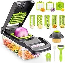 Vegetable Chopper,Senbowe Multifunctional 13-in-1 Food Choppers Onion Chopper Vegetable Slicer Cutter Dicer Veggie chopper with 8 Blades,Colander Basket,Container for Salad Potato Carrot Garlic