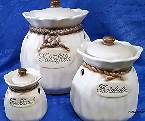 Kartoffeltopf Kartoffelsack Zwiebeltopf Knoblauchtopf beige braun Zimmermann Keramik Deutsches Premiumprodukt