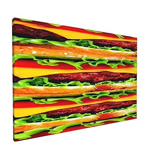 PATINISA Cuadro en Lienzo,Burger Me,Impresión Artística Imagen Gráfica Decoracion de Pared