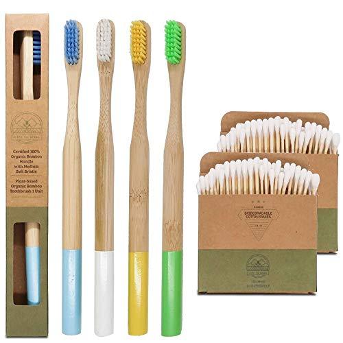 Cepillo de dientes de bambú ecológico y biodegradable | Mango redondeado sin plástico | Filamentos medio duros sin BPA | 100% Natural Set de 4 cepillos | GRATIS 200 bastoncillos de algodón de bambú