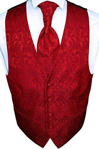 Sören Svensson Hochzeitsweste Set; Plastron, Einstecktuch, Krawatte, Rot, Tailliert Nr. 18.2 (56)