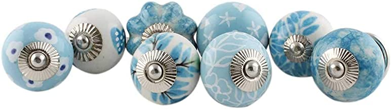 Indian-Shelf Handmade Assorted Pack of 15 Artistic Turquoise Knobs Dresser Drawer Knobs Handles Ceramic Cabinet Pulls Cupboard Vintage Mix Combo