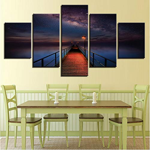Ssiyun Impresiones sobre Lienzo Wall Art Pictures 5 Panel Ocean Pier Under Milky Way Sky Pintura Puente Lienzo Poster For Living Room Decor Framework-40CMx60/80/100CM