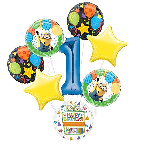 Despicable Me Minions 1st Birthday Party Supplies Balloon Bouquet Decorations