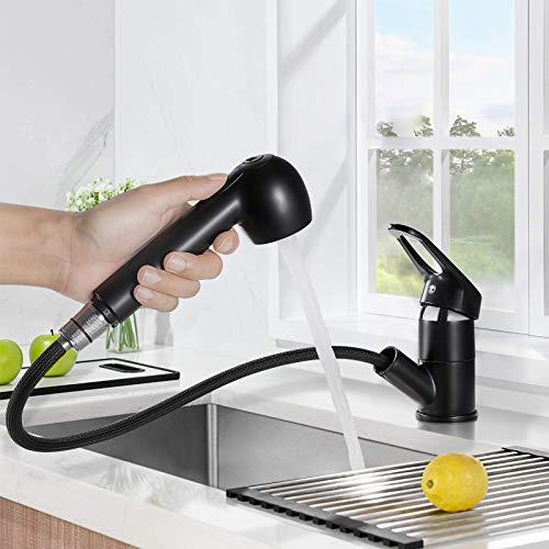 BONADE Ausziehbar Küchenarmatur Schwarz Mischbatterie 360° Drehung Wasserhahn Küche Einhebelmischer mit 2 Strahlarten Spültischarmatur Hochdruck Armatur für Spülbecken
