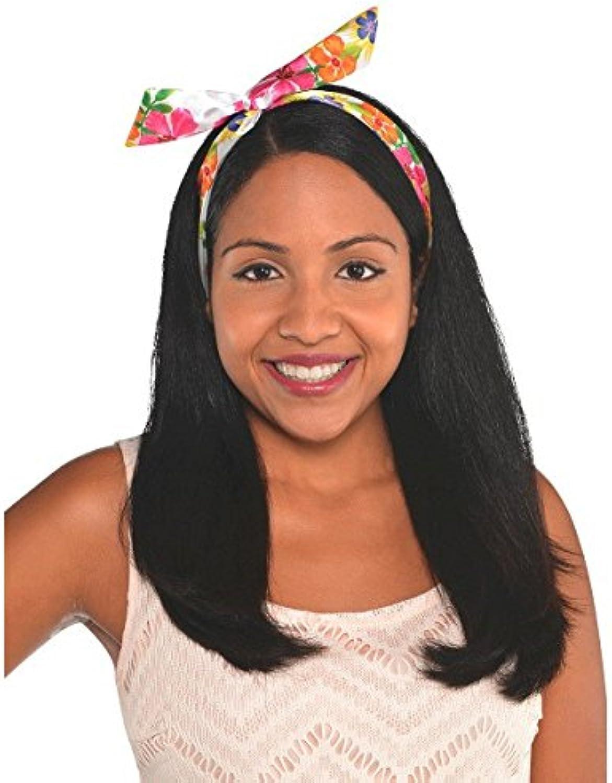 Hawaiian Summer Luau Party Floral Headscarf Accessory, Fabric, 32