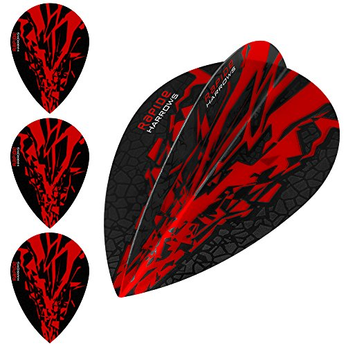 HARROWS Rapide X Dart Flights, 100 Micron – Pear Rot – 5 sets (15) – mit Darts Ecke gebogen Kugelschreiber