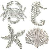 Haidong Unique Retro Cast Iron Handle Seashell, Seahorse, Starfish, Scallop Single Hole Door Handle Drawer Handle(Set of 4) (White)