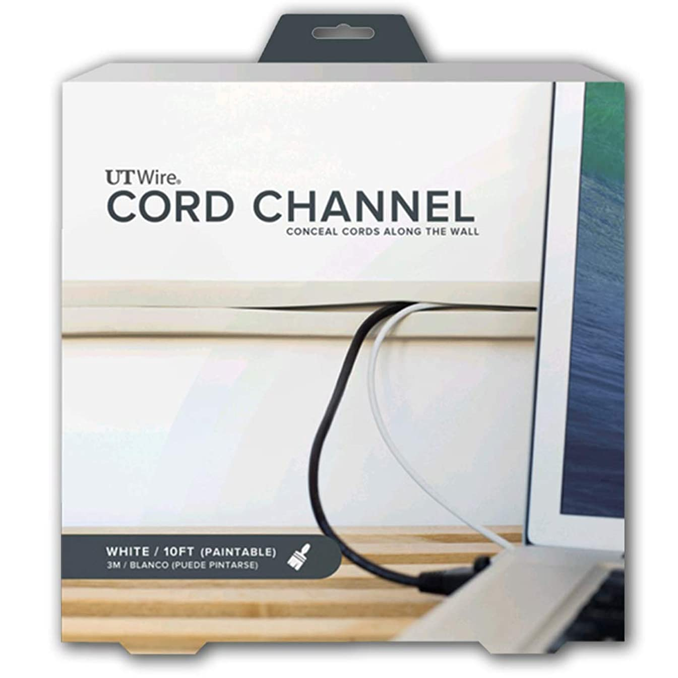 UT Wire UTW-CC1001-WH 10-Feet Cord Channel, White