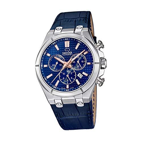 JAGUAR Herren Uhr Elegant J696/2 Leder Armbanduhr Daily Classic blau UJ696/2