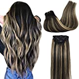 GOO GOO Real Hair Extensions Clip in Human Hair Ombre Natural Black to Light Blonde Clip in Human Hair Extensions Natural Hair Extensions Silky Straight 24 inch 7pcs 120g