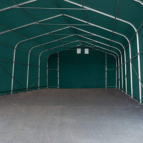 TOOLPORT Standsichere Lagerhalle/Lagerzelt 6 x 12 m/mit Statik feuersichere 720 g/m² PVC Plane Weidezelt dunkelgrün - 4