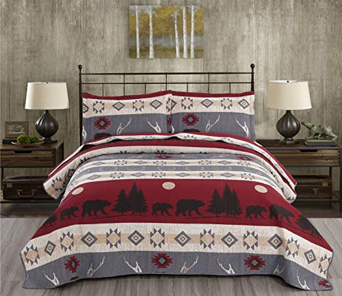 3-Piece Moose Quilt Set Reversible Cabin Rustic Lodge Coverlets Christmas Bedspread Animal Bear Sunset Forest Plant Bed Covers Breathable Lightweight Quilt Twin Size, 1 Quilt + 2 Pillow Shams