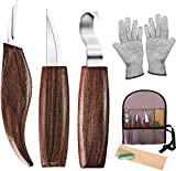 ELVASEN Wood Carving Tools,7PCS Whittling Kit for Beginners with Carving Hook Knife, Wood Carving Knife, Chip Carving Knife, Gloves for Spoon, Bowl, Kuksa Cup Or General Woodwork,Cut Resistant Gloves