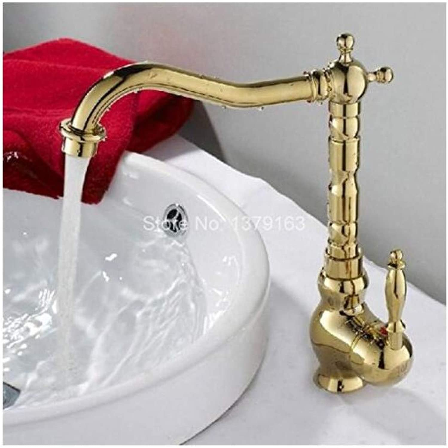 Luxury Vintage Plated Faucet Swivel Spout Water Tap Polished Brass Single Handle Single Hole Kitchen Sink Faucet Basin Mixer Tap
