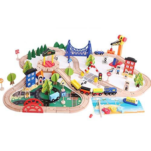 Suppemie Juego de 108 piezas de tren de madera, juego de tren de madera, juguete para niños, juguete clásico para todos los miembros