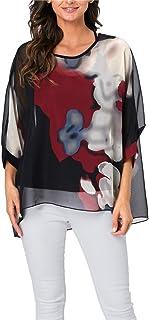 iNewbetter Womens Floral Print Batwing Sleeve Chiffon Beach Loose Blouse Summer Tunic Tops