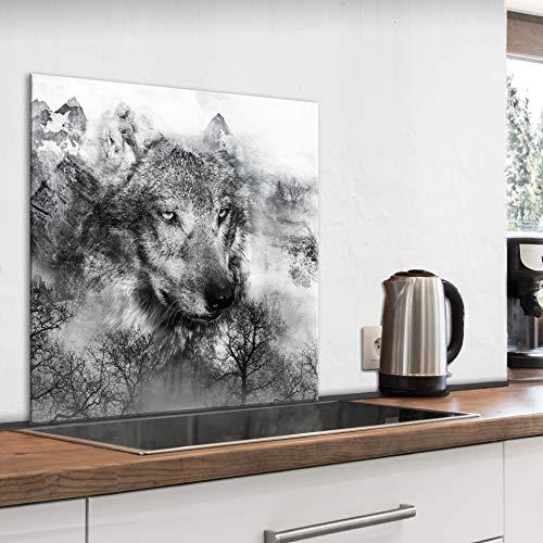 murando Spritzschutz Glas für Küche 60x60 cm Küchenrückwand Küchenspritzschutz Fliesenschutz Glasbild Dekoglas Küchenspiegel Glasrückwand Tierbilder Wolf schwarz - g-A-0212-aq-a