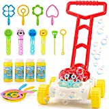 JoyGrow Bubble Lawn Mower for Kids,Automatic Bubble Blower Machine with Music,Toddler Activity Walker,Outdoor Push Toys for Toddler Boys Girls with 4 Bottles Solution and Bubble Wands Set
