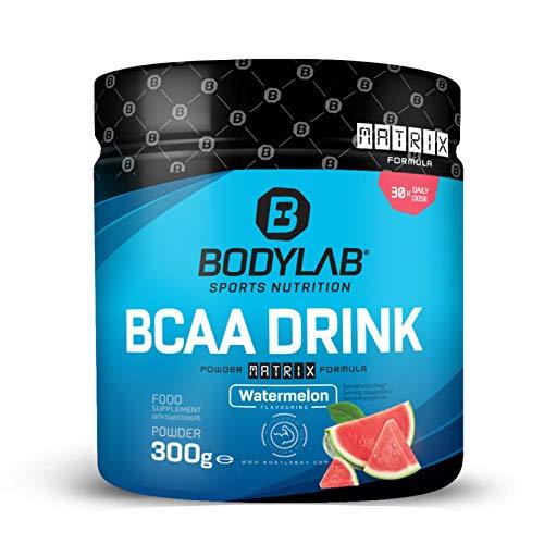 Bodylab24 BCAA Drink Powder Matrix Formula 300g / pro Portion 5g BCAA mit Glutamin, Vitaminen und Magnesium / Ideal nach dem Training oder vor dem Schlafengehen / Wassermelone