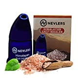 Nevlers All Natural Ceramic Himalayan Salt Inhaler with All Natural Himalayan Pink Crystal Salt - Great for Allergy and Asthma Relief - Handheld and Portable - Navy